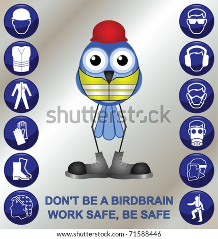 Bird with construction health and safety message - stock vector