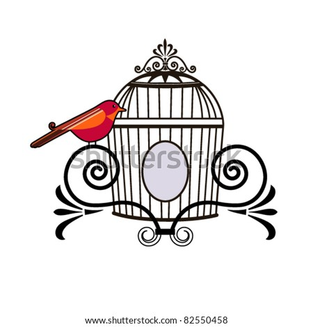 Bird with decorative cage - stock vector