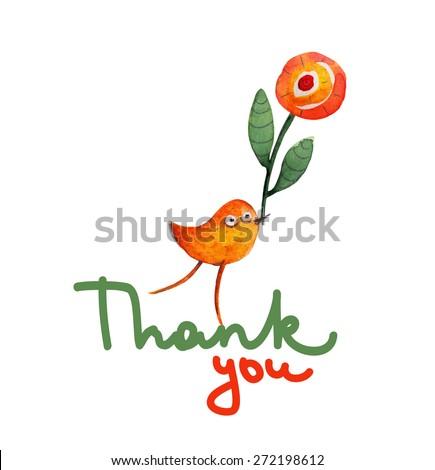 Bird with flower. Thank you. Gratitude. Vector - stock vector