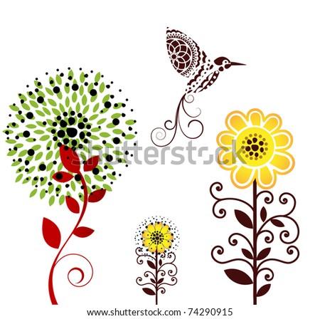 bird with flowers - stock vector
