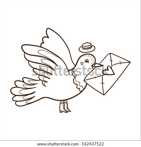 Bird With Letter Sketch Vector Design Element For Valentines Day