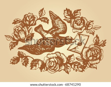 Bird with love letter and flowers. Hand-drawn illustration - stock vector