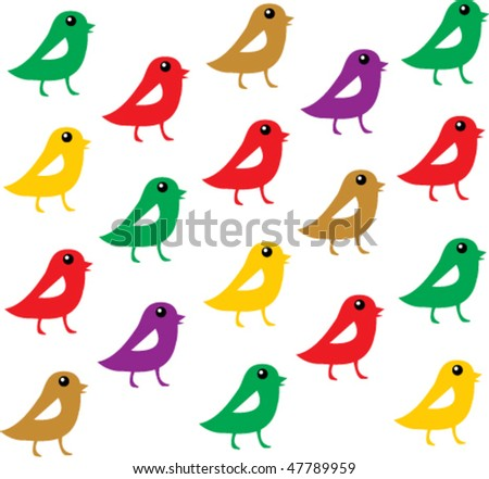 bird wrapping paper 1 - stock vector
