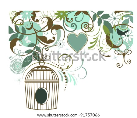 Birdcage butterfly bird heart collage - stock vector
