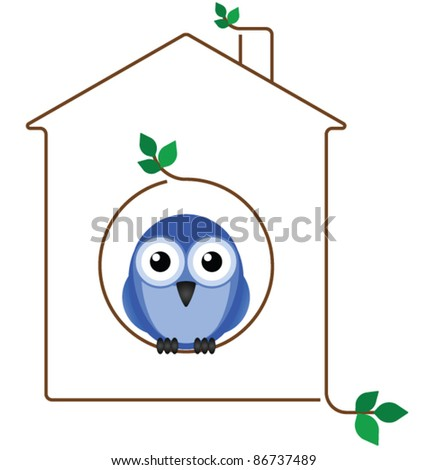 Birdhouse made of twigs isolated on white background - stock vector