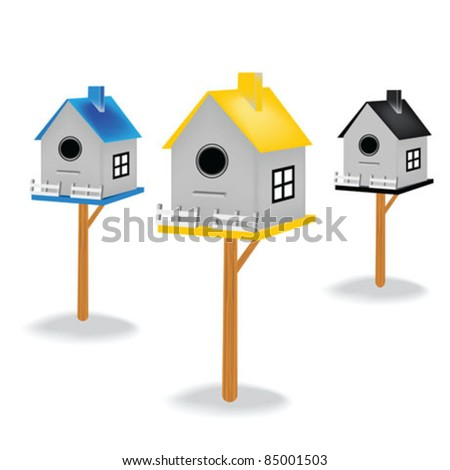 Birdhouses isolated - stock vector