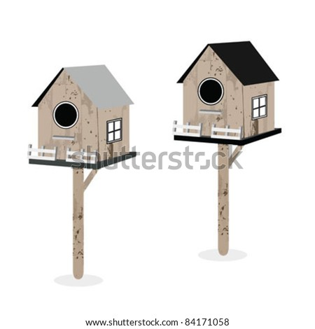 Birdhouses isolated on white - stock vector