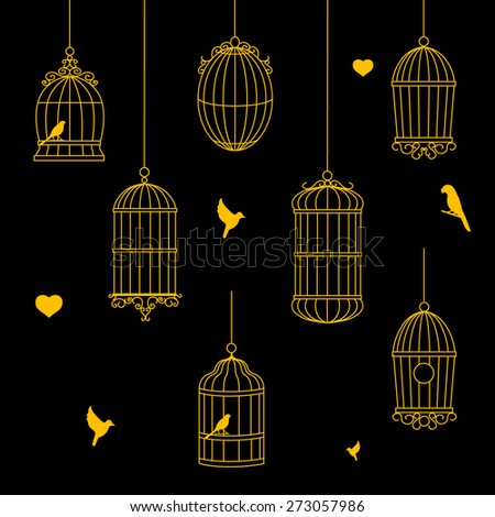 birds and birdcages gold  collection on black background - stock vector