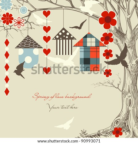 Birds and birdcages in a tree - stock vector