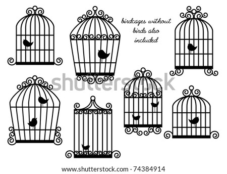 Birds and Birdcages Vector Set - Birdcages without birds also included - stock vector