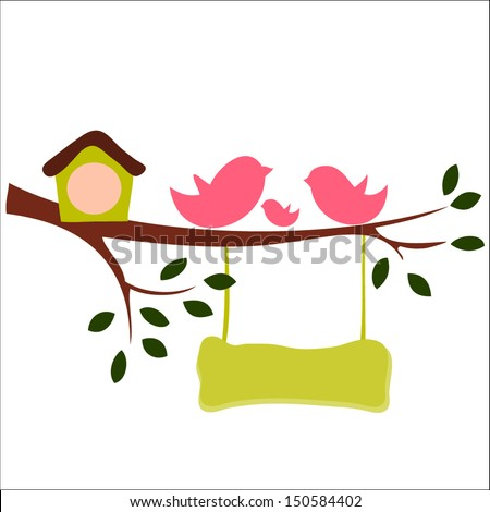 Birds and birdhouses silhouette on the branch, wooden signboard  - stock vector