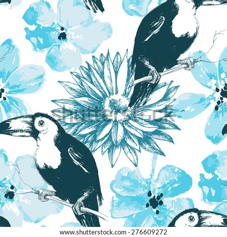 Birds and blue watercolor flowers seamless pattern - stock vector