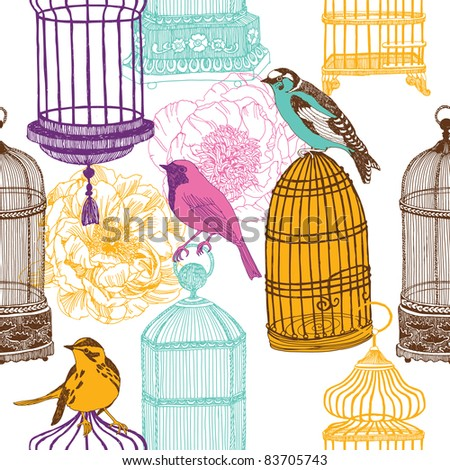 birds and cages - stock vector