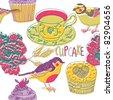 birds and cupcakes - stock vector