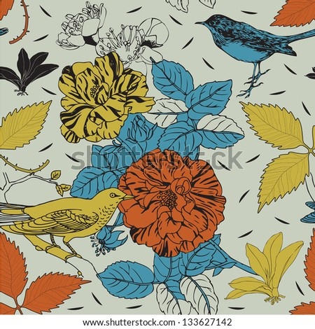 Birds and flowers. Seamless background. Vector illustration.