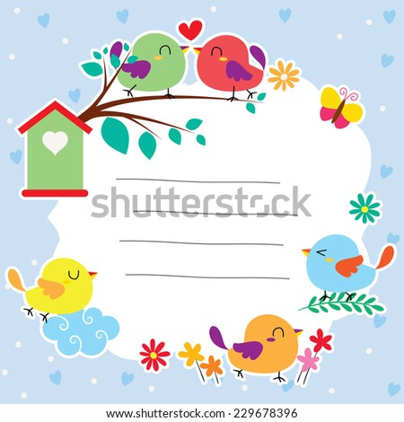 birds and garden layout design - stock vector