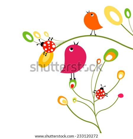 birds and ladybirds on flowers - stock vector