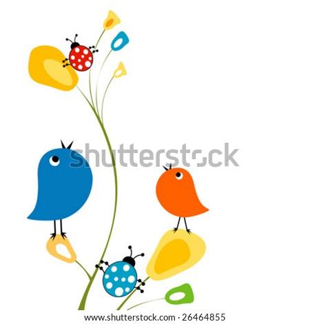 birds and ladybugs - stock vector