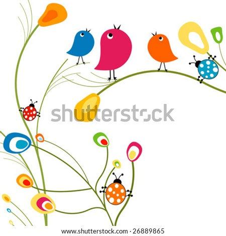 birds and ladybugs - stock vector