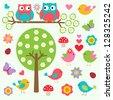 Birds and owls in spring forest. Vector set - stock photo