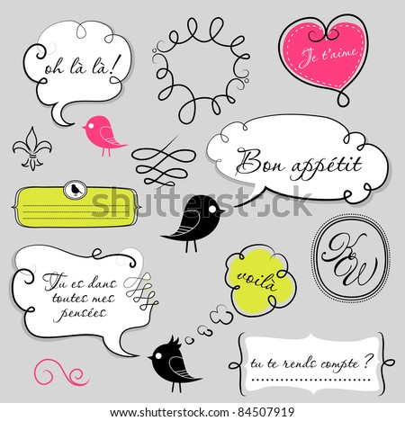 Birds and speech bubbles set - stock vector