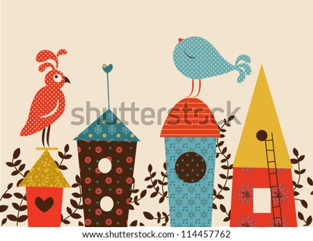 birds and starling houses vector illustration - stock vector