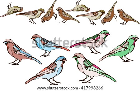 Birds are drawn from a variety of items! This is an illustration for your project