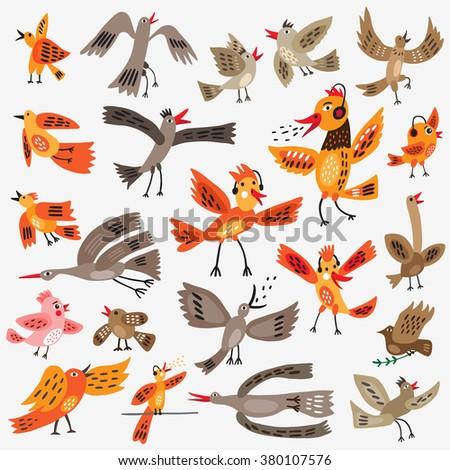 birds cartoons set - stock vector