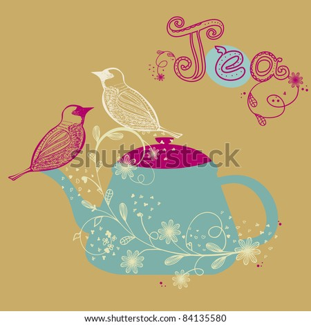 Birds couple on the teapot, hand drawn vector illustration - stock vector
