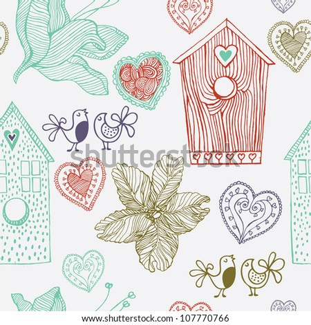 Birds flowers and houses, seamless  background - stock vector