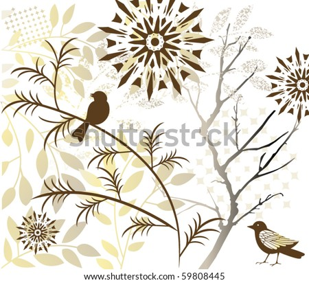 birds flowers tree - stock vector