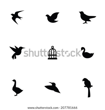 birds icons set, black on white background - stock vector
