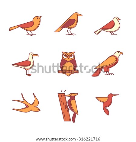 Birds icons thin line set. Flat style color vector symbols isolated on white. - stock vector