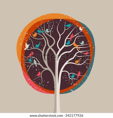 Birds in a tree, eps10 vector illustration - stock vector
