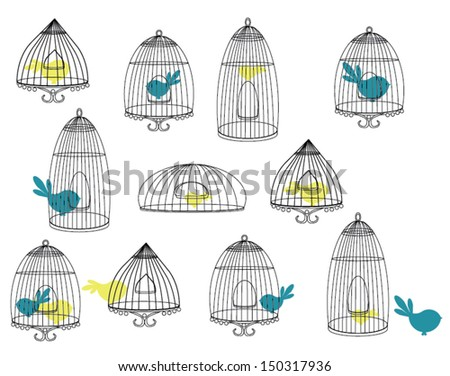 Birds in Cages - stock vector