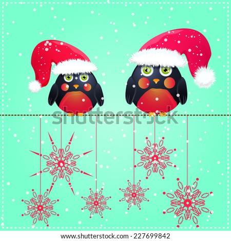 Birds in Cute Red Hat Seats on Wire. Christmas Season Greeting. Vector Illustration. - stock vector