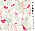 Birds in flowers. Romantic seamless pattern in vector - stock vector