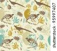 Birds in flowers. seamless pattern in vector - stock vector
