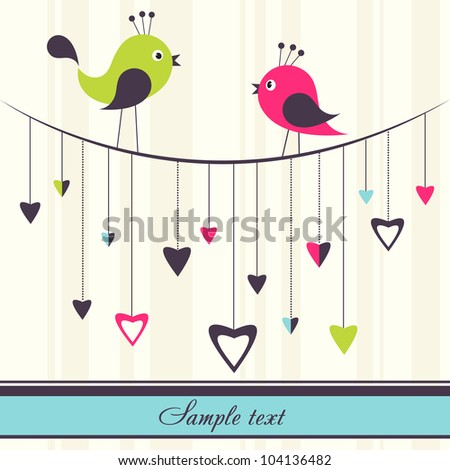 birds in love - stock vector