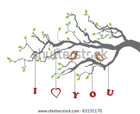 Birds in love on a tree branch - stock vector