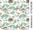 birds in love. seamless pattern - stock vector