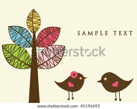 Birds in love. Vector  illustration. - stock vector
