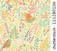Birds in nature. Vintage floral seamless pattern in bright colors in vector. - stock photo