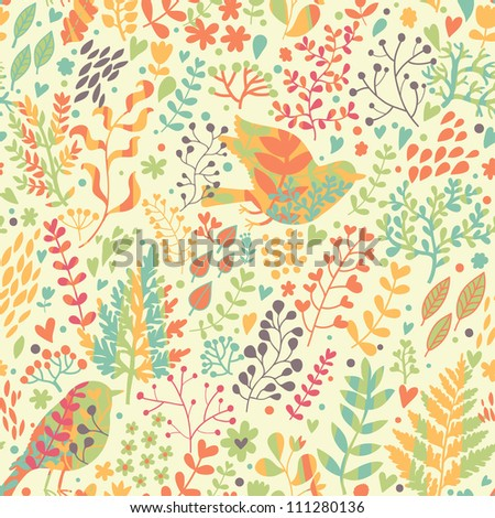Birds in nature. Vintage floral seamless pattern in bright colors in vector. - stock vector