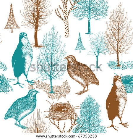 birds in the forest. seamless pattern - stock vector