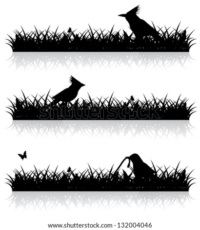 Birds in the grass. Silhouette. EPS 8 vector, grouped for easy editing. No open shapes or paths. - stock vector