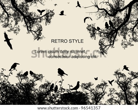 Birds in the tree and flying on retro style background, vector illustration