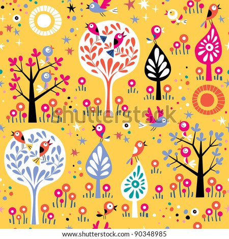 Birds in the trees nature pattern - stock vector