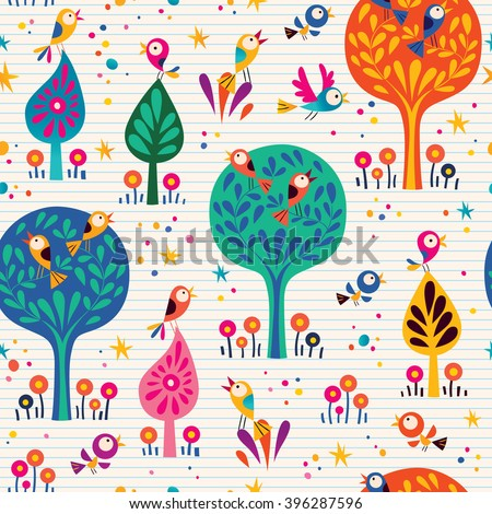 birds in the trees nature seamless pattern with lined paper background - stock vector