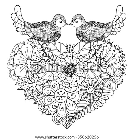 Birds kissing on floral heart shape nest for coloring book and other decorations - stock vector